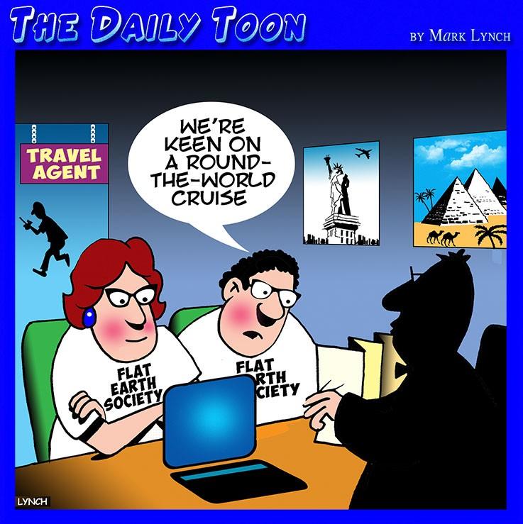 Flat earth society cartoon