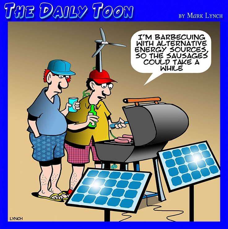 Barbecue alternative energy wind farm solar panels sausages cooking