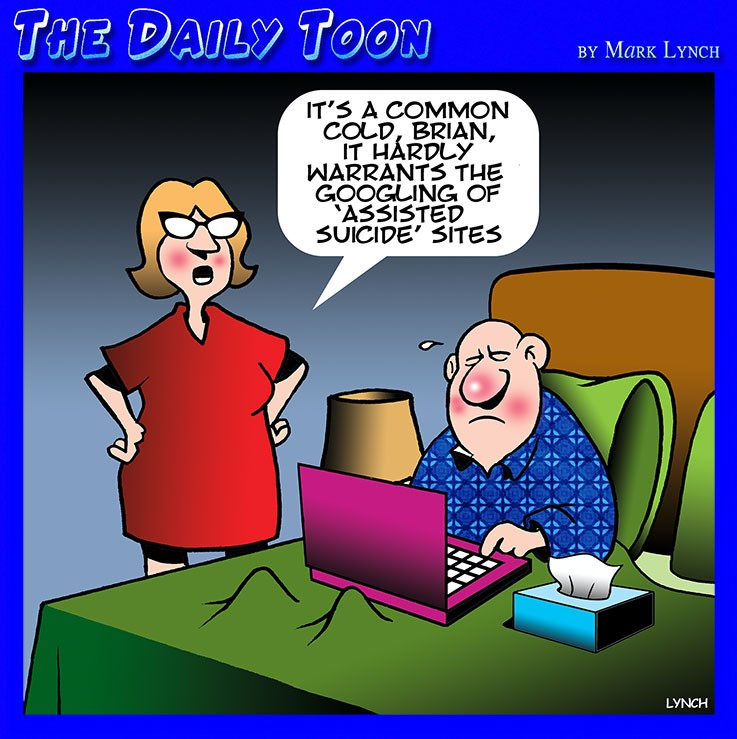 Husband sick in bed cartoon