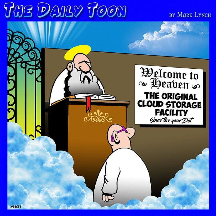Stored in the cloud cartoon