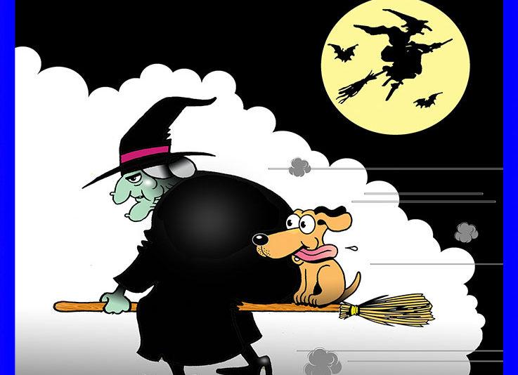 Witch's dog cartoon