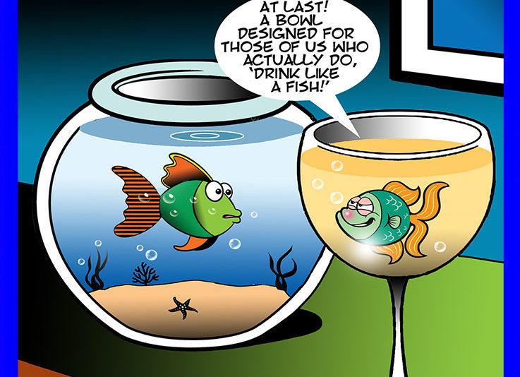 Drinks like a fish cartoon