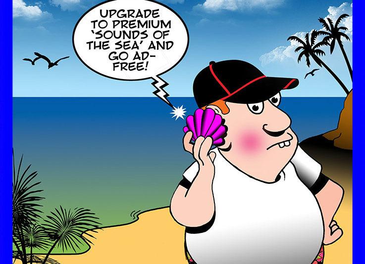 Listening to sea shell cartoon