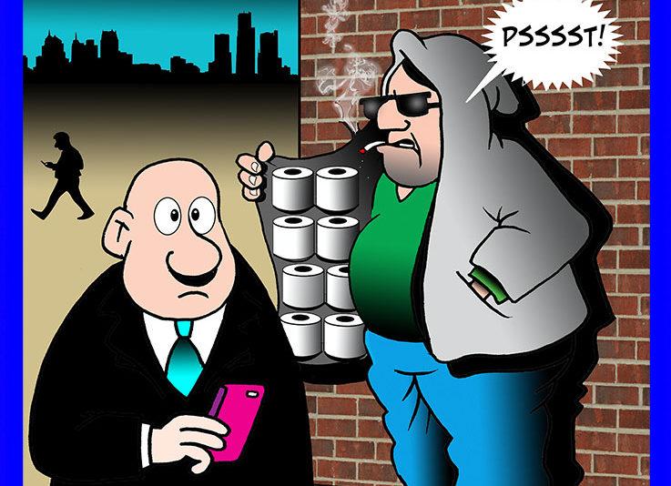 Toilet paper hoarders cartoon