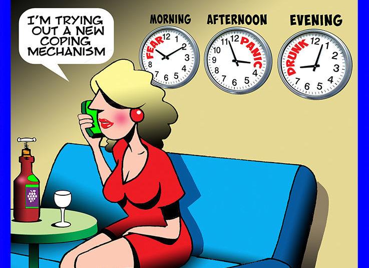 Coronavirus clock cartoon