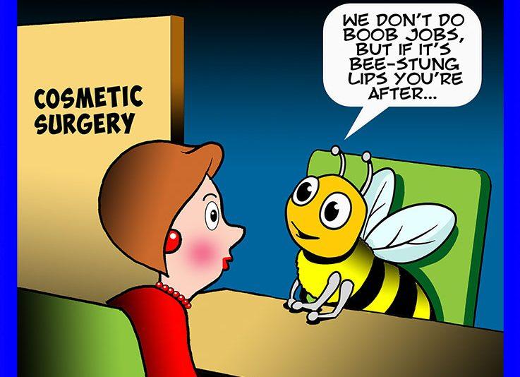 Bee stung lips cartoon