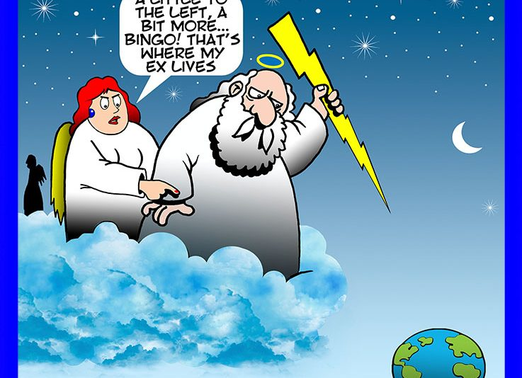 God throwing lightning cartoon