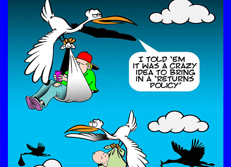 Storks delivering baby cartoon
