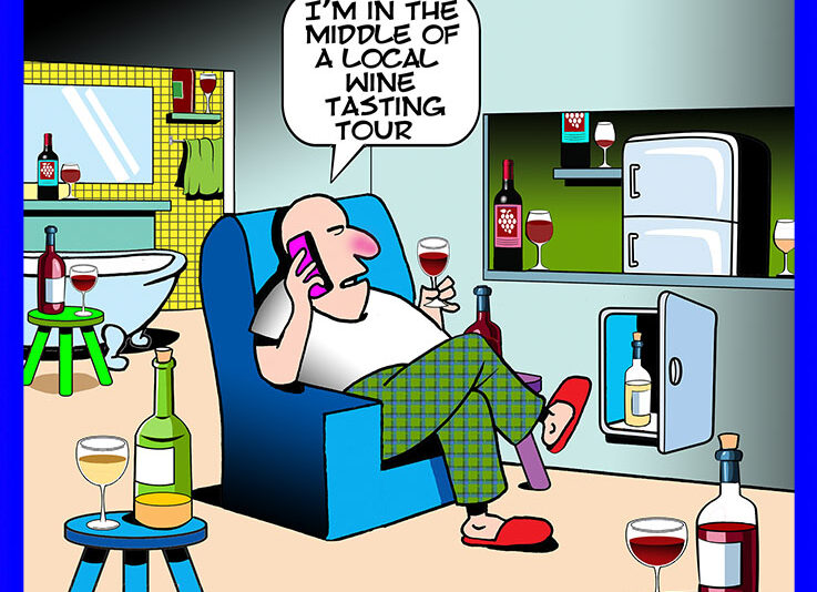 Wine tasting cartoon