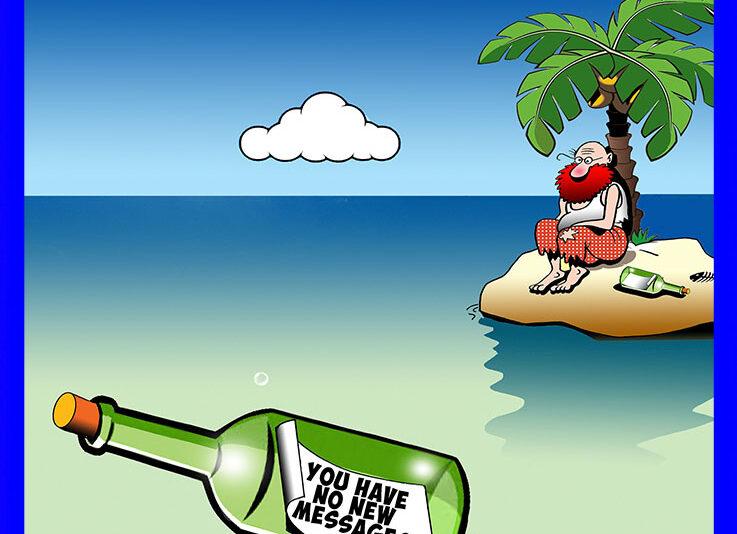 Message in a bottle cartoon