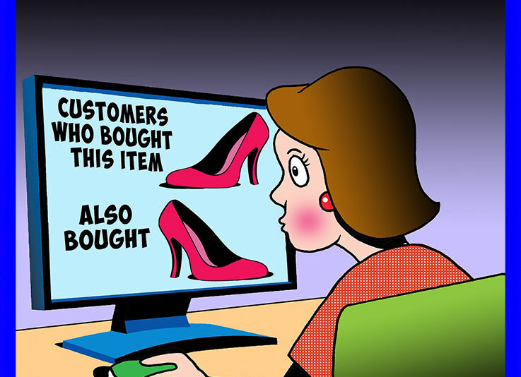 Shopping on Amazon cartoon