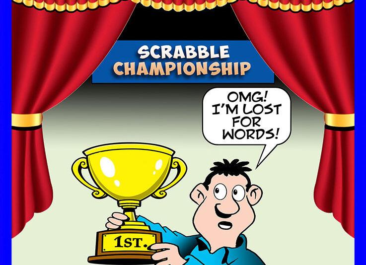 Scrabble champion cartoon