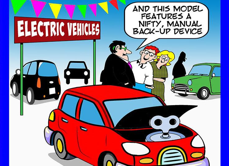 Electric vehicles cartoon