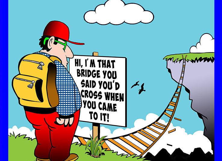 Bridge cross cartoon