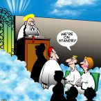 Couple at the pearly gates cartoon
