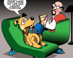 Dog on psychiatrist couch cartoon