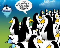 Penguin afraid of identity theft