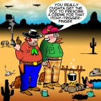 Western gunfight cartoon