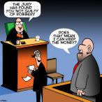 Defendant bif front of judge cartoon