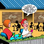 Cafe conversation cartoon