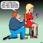Unlimited text and data cartoon