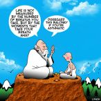 Guru on a mountain cartoon