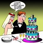 Cutting the cake cartoon