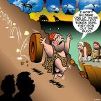 Wheel chases caveman down the hill cartoon