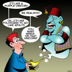Genie in a lamp cartoon