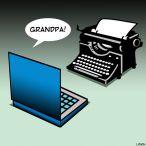 typewriter cartoon