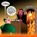 Politician goes to hell cartoon