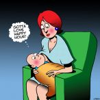 Breast feeding cartoon