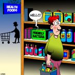 Health food shop cartoon